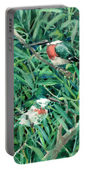 Green Kingfishers In The Grass Portable Battery Charger by Suren Nersisyan