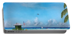 Green Lifeguard On Siesta Key Portable Battery Charger by Lloyd Dobson