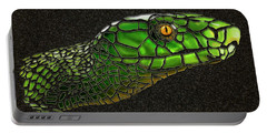 Green Mamba Snake Portable Battery Charger by Michael Cleere