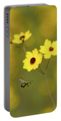 Green Metallic Bee Portable Battery Charger by Paul Rebmann