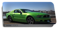 Green Mustang Portable Battery Charger by Davandra Cribbie