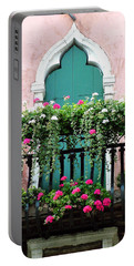 Portable Battery Charger featuring the photograph Green Ornate Door With Geraniums by Donna Corless