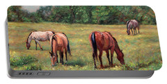 Green Pastures - Horses Grazing In A Field Portable Battery Charger