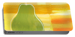 Green Pear- Art By Linda Woods Portable Battery Charger