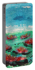 Green Pond With Many Flowers Portable Battery Charger