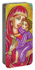 Portable Battery Charger featuring the painting Green Ray Madonna by Eva Campbell
