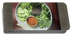 Portable Battery Charger featuring the photograph Green Salad Presentation Chef Cuisine Kitchen Lifestyle Christmas Holidays Birthday Festivals Mom  by Navin Joshi