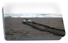 Portable Battery Charger featuring the photograph Green Sea Turtle Returning To Sea by Breck Bartholomew