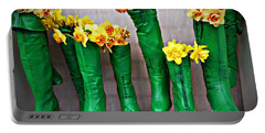 Green Shoes For Yellow Spring Flowers Portable Battery Charger