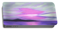 Green Skies And Purple Seas Sunset Portable Battery Charger