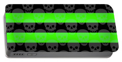 Green Skull Stripes Portable Battery Charger by Roseanne Jones