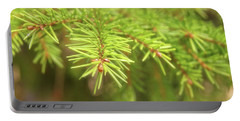 Green Spruce Branch Portable Battery Charger by Anton Kalinichev