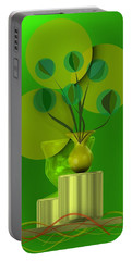 Green Still Life With Abstract Flowers, Portable Battery Charger