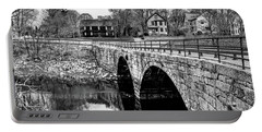 Green Street Bridge In Black And White Portable Battery Charger