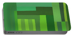 Green Stripes 3 Portable Battery Charger by Elena Nosyreva
