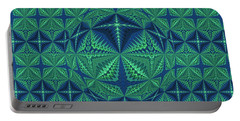 Green Symmetrical Pattern, Kaleidoscope Portable Battery Charger