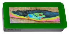 Green Tree Frog Portable Battery Charger by Ann Michelle Swadener