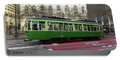 Portable Battery Charger featuring the photograph Green Trolley by Steven Spak