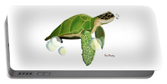 Green Turtle Portable Battery Charger by Anne Beverley-Stamps