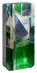 Portable Battery Charger featuring the glass art Green Vase by Jamie Frier