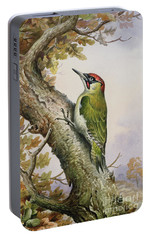 Green Woodpecker Portable Battery Charger by Carl Donner