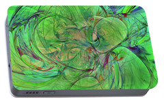 Portable Battery Charger featuring the digital art Green World Abstract by Deborah Benoit