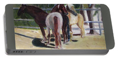Portable Battery Charger featuring the painting Gregory And His Mares by Linda Feinberg