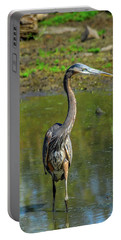 Gret Blue Heron In Pond Portable Battery Charger