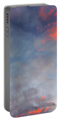 Pink Flecked Sky Portable Battery Charger by Linda Hollis