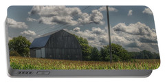 0013 - Grey Barn In A Cornfield Portable Battery Charger