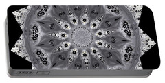 Grey Bubbley Eyes Mandala Portable Battery Charger by Wernher Krutein