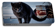 Grey Cat, Grey Mood Portable Battery Charger