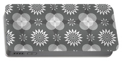 Grey Circles And Flowers Pattern Portable Battery Charger