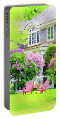 Grey Cottage In Early Summer Portable Battery Charger by Desiree Paquette