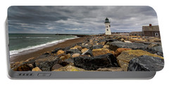 Grey Day At Scituate Lighthouse Portable Battery Charger