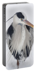 Grey Heron In The Snow Portable Battery Charger