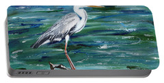 Grey Heron Of Cornwall -painting Portable Battery Charger