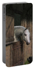 Grey Horse In The Stable - Waiting For Dinner Portable Battery Charger