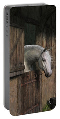 Grey Horse In The Stable - Waiting For Dinner Portable Battery Charger by Jayne Wilson