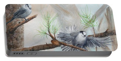 Grey Jays In A Jack Pine Portable Battery Charger
