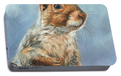 Portable Battery Charger featuring the painting Grey Squirrel by David Stribbling