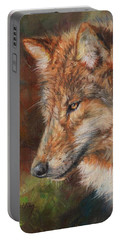 Grey Wolf Face Portable Battery Charger