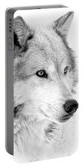 Grey Wolf Profile Portable Battery Charger by Athena Mckinzie
