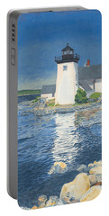 Portable Battery Charger featuring the painting Grindle Point Light by Dominic White