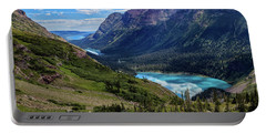 Grinell Hike In Glacier National Park Portable Battery Charger by Andres Leon
