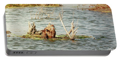 Portable Battery Charger featuring the photograph Grinning Nutria On Reeds by Robert Frederick