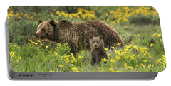 Grizzlies In The Wildflowers Portable Battery Charger