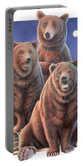 Grizzly Bears In Starry Night Portable Battery Charger