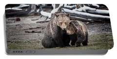 Grizzly Cub Cuddling With Mother Portable Battery Charger