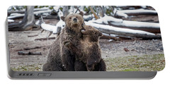Grizzly Cub Playing With Mother Portable Battery Charger